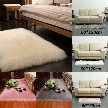 60x120cm Long Plush Ultra Soft Fluffy Rugs Rectangle Shape Faux Sheepskin Wool Carpet Rug for Living Room Bedroom Balcony Floor Mats