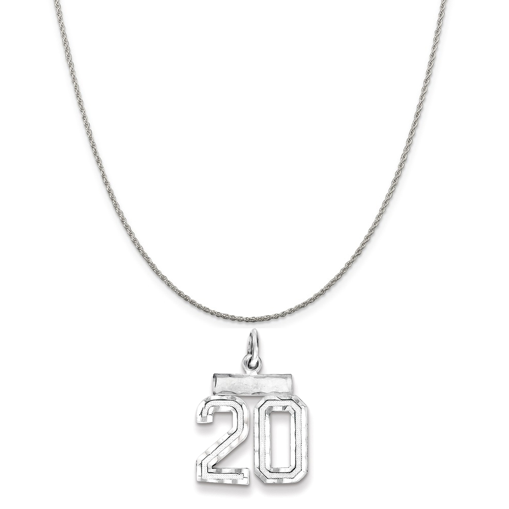 """Sterling Silver Small #20 Charm on a Sterling Silver Rope Chain Necklace, 16"""""""