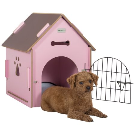 ollieroo dog house crate wooden kennel indoor condo for small dogs cats pet home with door and. Black Bedroom Furniture Sets. Home Design Ideas