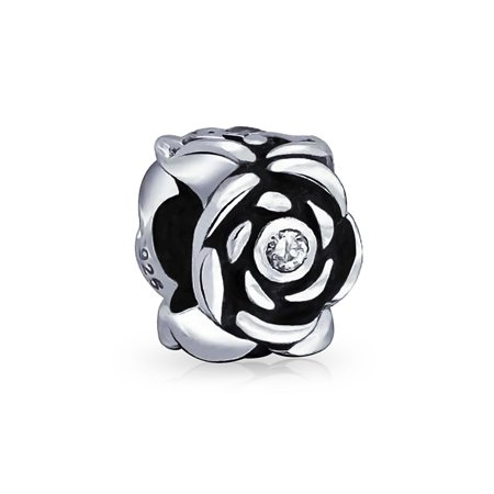 Mothers Day CZ Black Rose Flower Charm Bead For Women For Girlfriend 925 Sterling Silver For European (Sterling Silver Flower Bead)