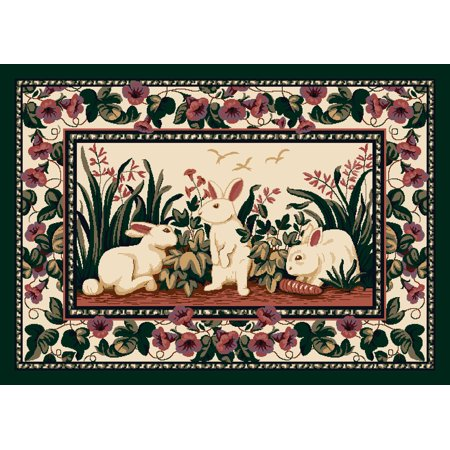 Milliken Seasonal Inspirations Area Rugs - Novelty 03000 Bunny Easter Bunnies Rabbits Flowers Rug