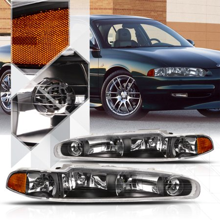 Black Housing Headlight Amber Signal Reflector For 98 02 Oldsmobile