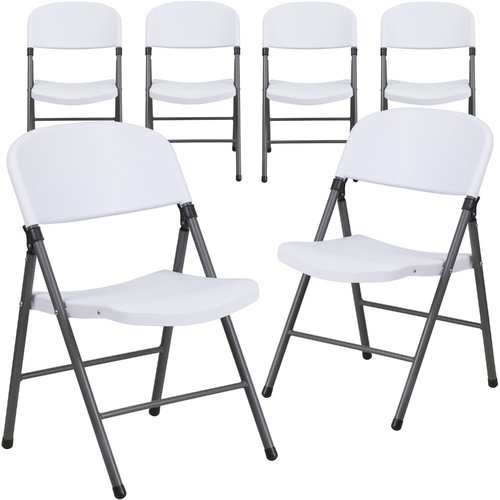 Flash Furniture 6-Pack HERCULES Series 330 lb Capacity White Plastic Folding Chair with Charcoal Frame