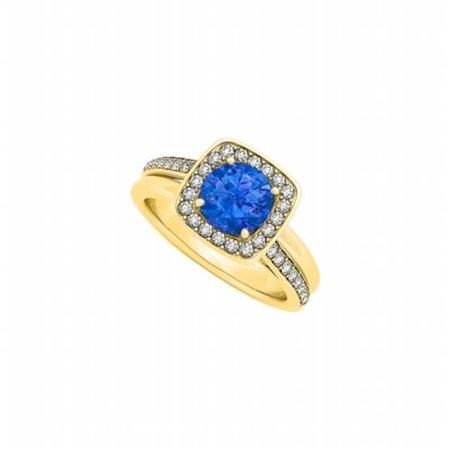 Fine Jewelry Vault Ubunr84335agvyczs Sapphire   Cz Split Double Shank Ring In 18K Yellow Gold Vermeil Cool Price Offer  44  32 Stones