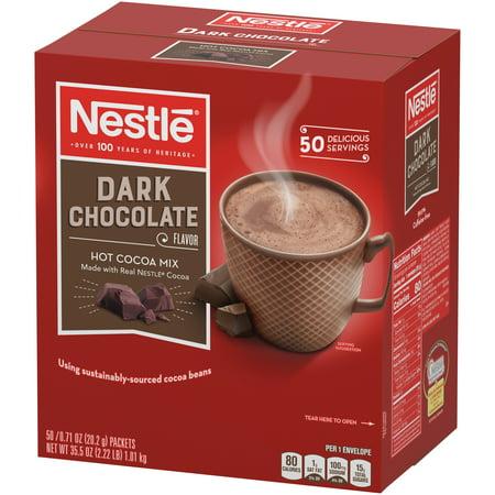 Nestle Hot Cocoa Mix, Dark Chocolate Hot Cocoa Single Serve Hot Chocolate Packets, 50 Ct Chocolate Fondue Cocoa