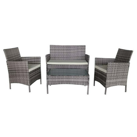 Palm Springs Deluxe 4 Piece Rattan Sofa Set w/ Chairs, Tables & Cushions - Grey