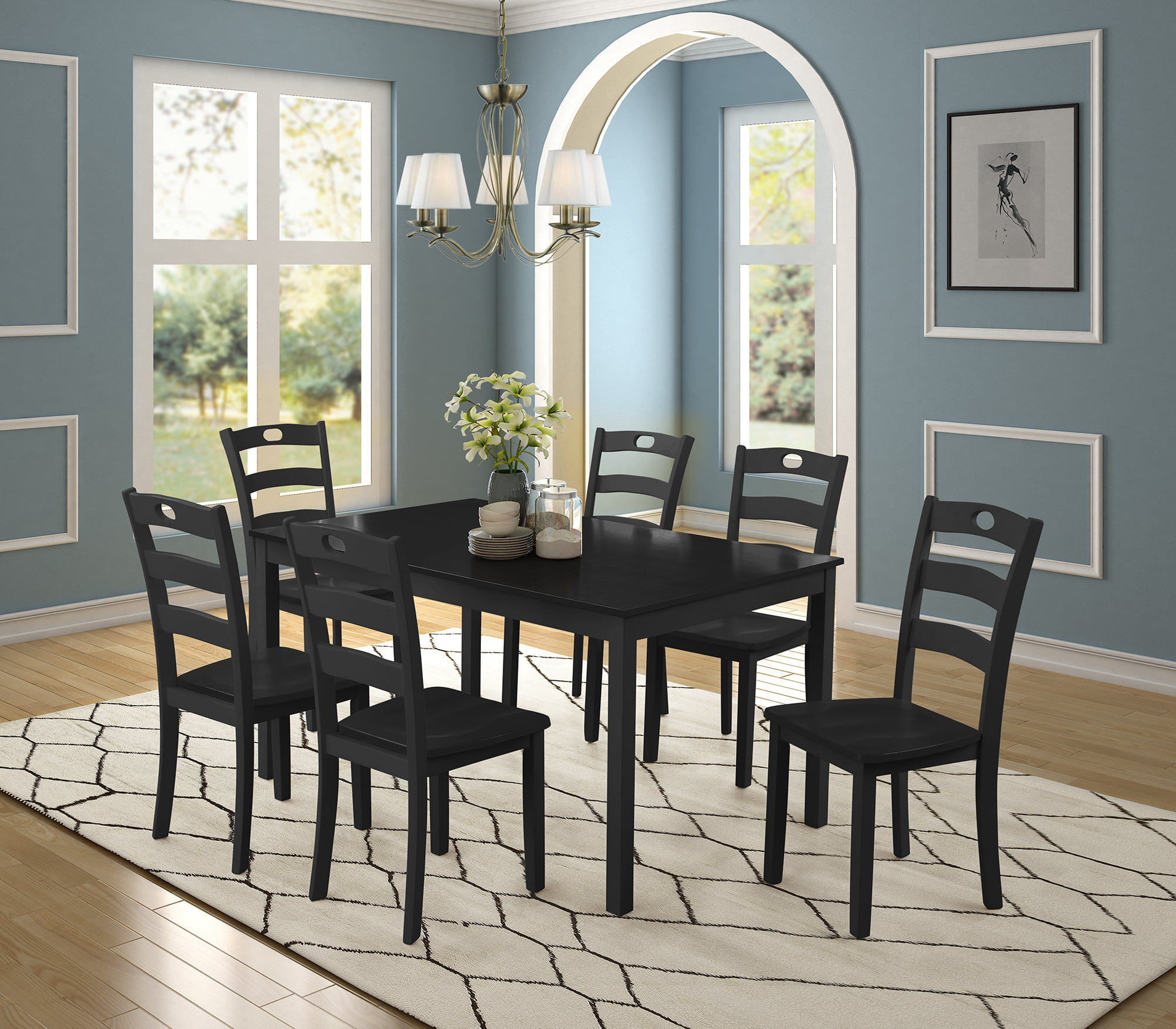 Dining Room Table Set, 7 Piece Dining Table Sets With Dining Chairs For 6, Heavy Duty Wooden Rectangular Kitchen Table Set With Black Finish For Home, Kitchen, Living Room, Restaurant, L941 -