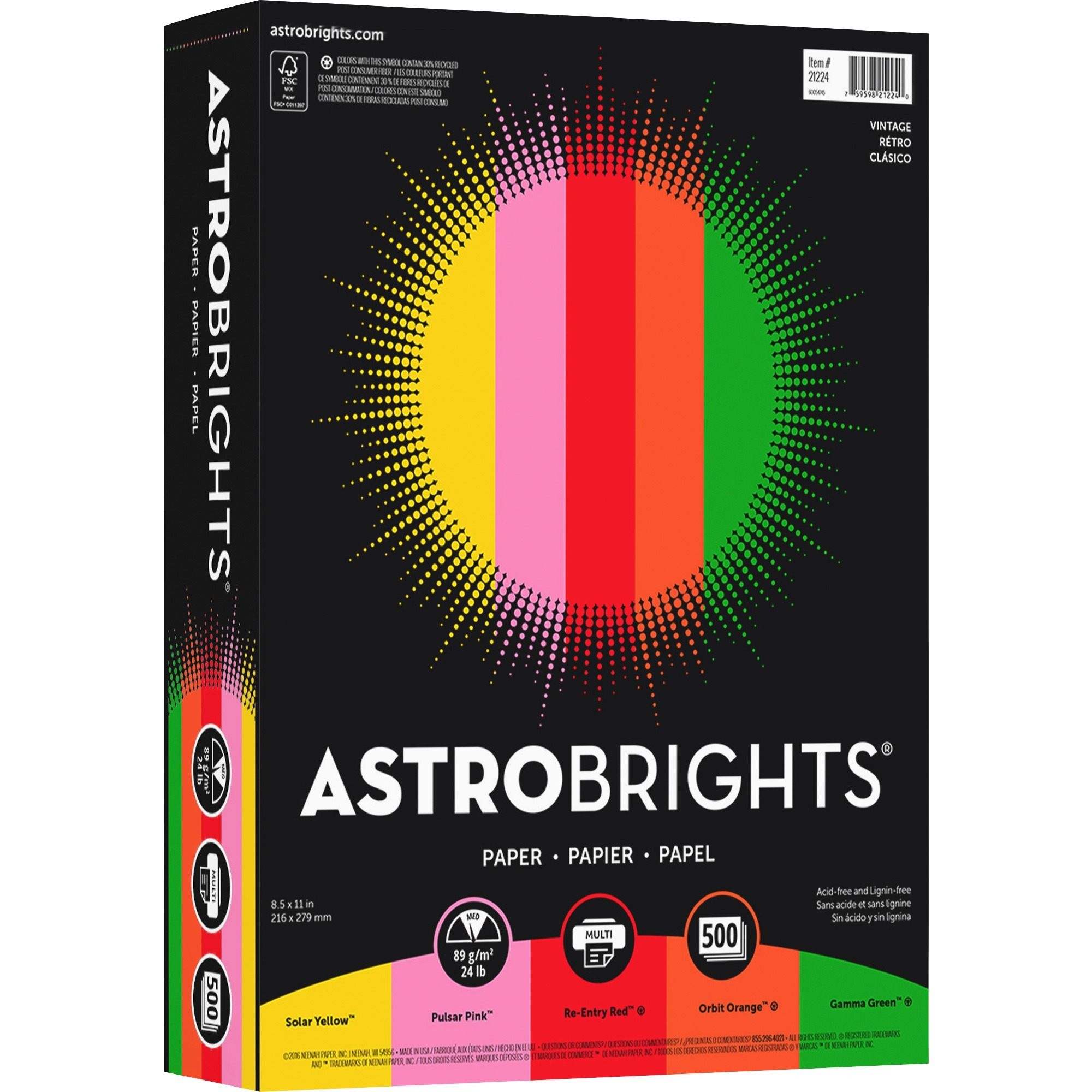 "Astrobrights, WAU21224, Color Paper - ""Vintage"" 5-Color Assortment, 500 / Ream, Solar Yellow,Pulsar Pink,Re-entry Red,Orbit Orange,Gamma Green"