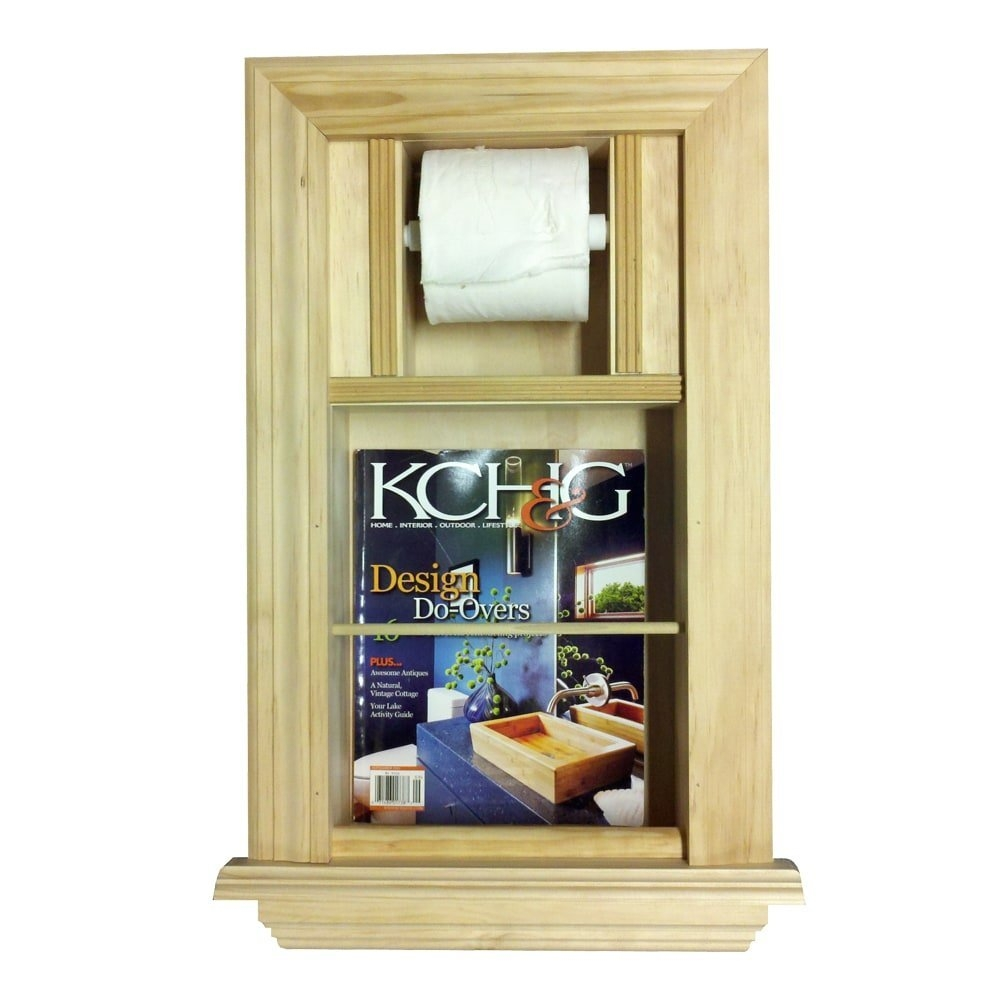 Recessed Magazine Rack and Toilet Paper Holder by WG Wood Products