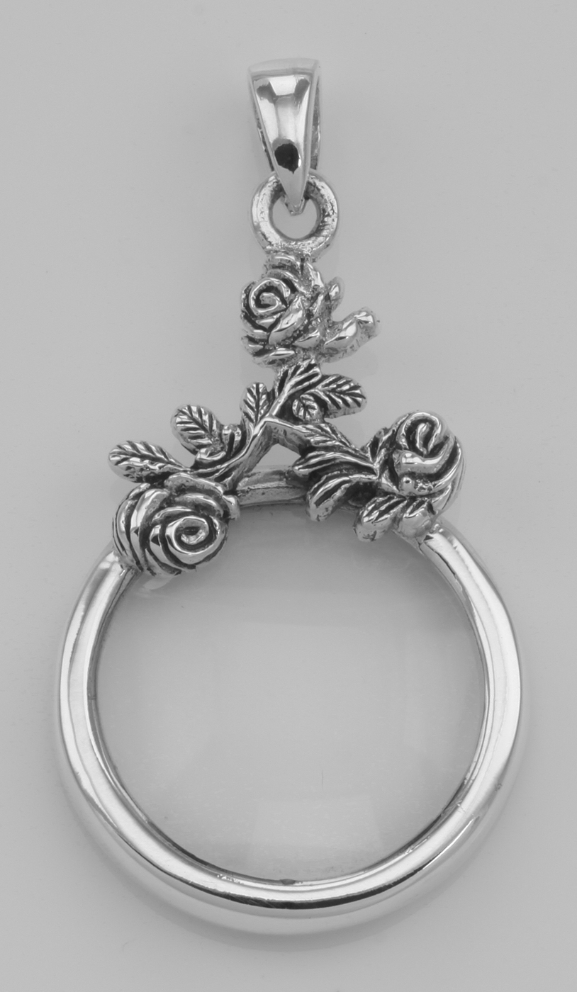 Antique style rose magnifying glass pendant 5x sterling silver antique style rose magnifying glass pendant 5x sterling silver walmart aloadofball Gallery