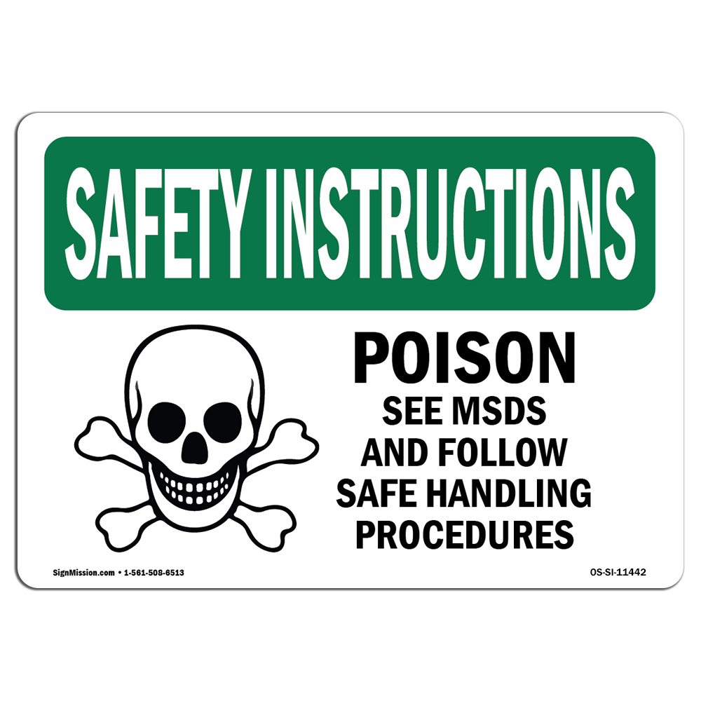 Osha Safety Instructions Sign Poison See Msds And Follow