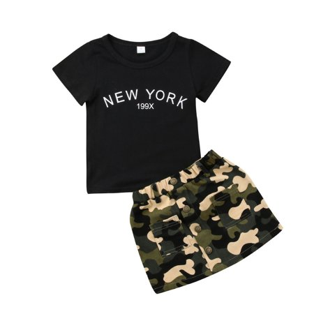 Fashion 2pcs Toddler Kid Baby Girl T-shirt Tops Camouflage Skirt Dress Clothes Outfit Toddler Girls Camouflage Shirt