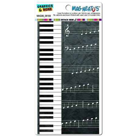 Piano Keys and Scales Grayscale - Music Notes Sheet Musician MAG-NEATO'S(TM) Car/Refrigerator Magnet - Halloween Music Piano Notes