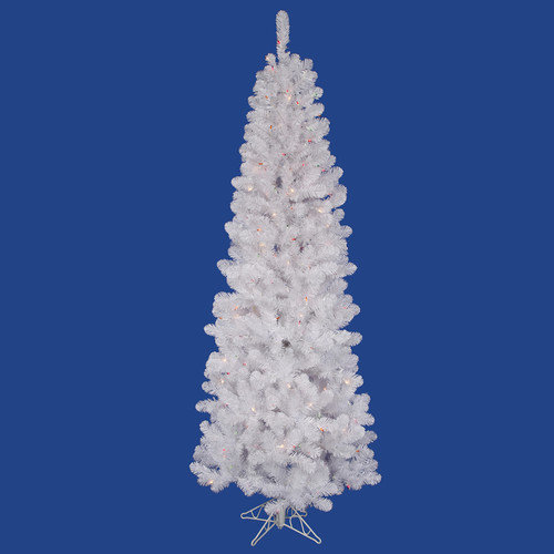 Vickerman White Salem Pencil Pine 7.5' Artificial Christmas Tree with 350 Multicolored Lights with Stand