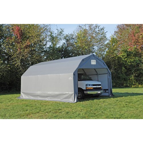 12' x 28' x 11' Barn Style Shelter, Gray