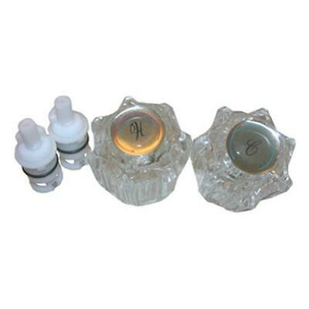 2 PK Larsen Supply Co. Delta 2 Handle Lavatory Repair Kit Included Stems & Clear Handles - Lavatory Sweat Supply Kit