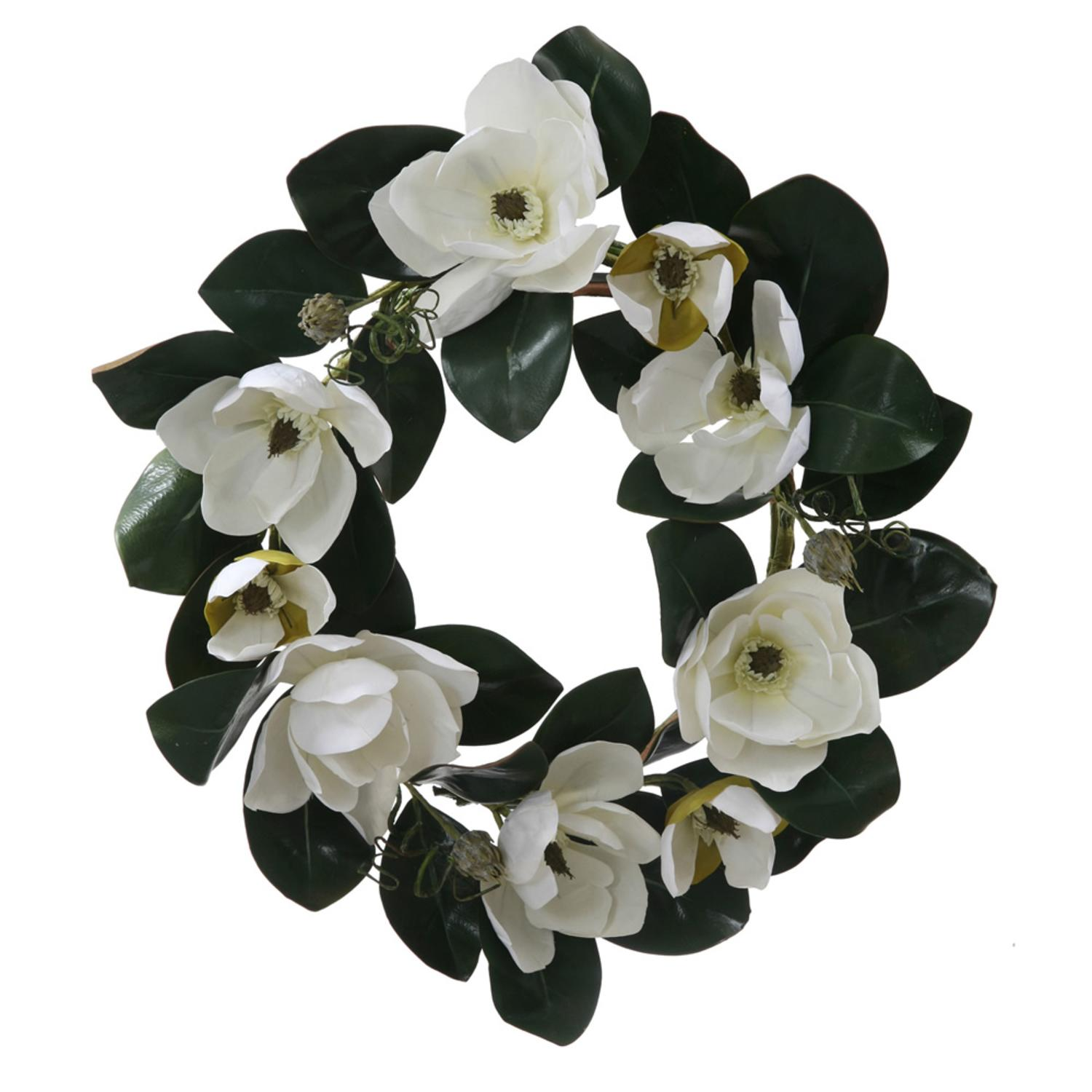 26 White Magnolia Flower And Leaves Artificial Silk Floral Wreath