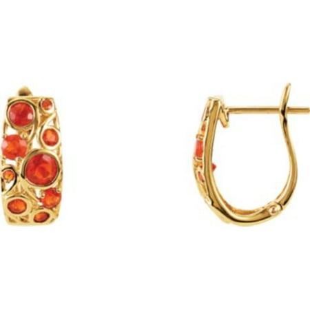 Genuine Mexican Fire Opal Earrings In 14k Yellow Gold
