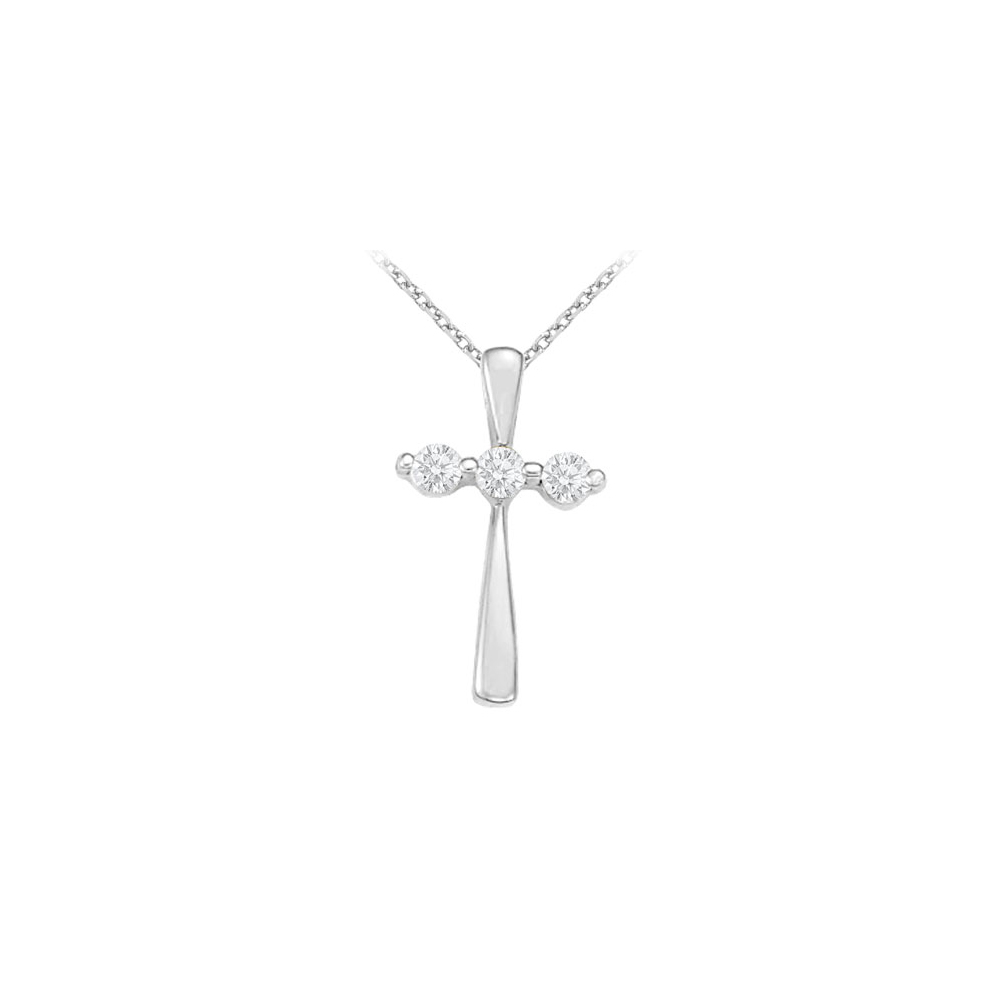 April Birthstone CZ Three Stone Cross Pendant in 925 Sterling Silver - image 2 of 2