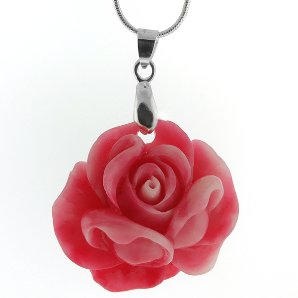 "34MM Simulated Pink Coral Carved Rose Flower Pendant With 18"" Chain"
