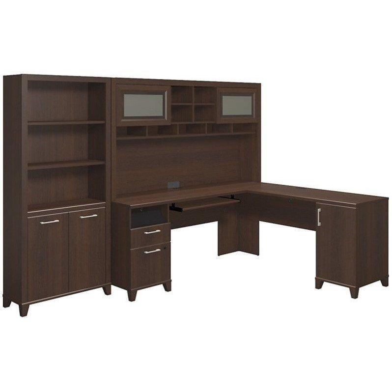 Bush Achieve 3 Piece L Shape Desk Office Set in Sweet Cherry