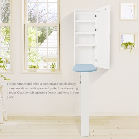 Wall Mount Ironing Board Center Storage Cabinet Clothes Shelves for Bedroom Living Room