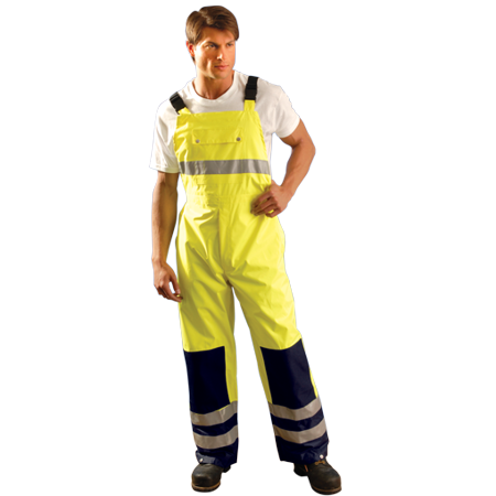 Size 2X Hi-Viz Yellow With Blue 48'' 100% Polyester 150 Denier Oxford With PU Coating Breathable Rain Bib Pants With Elastic Suspenders With Release Buckle