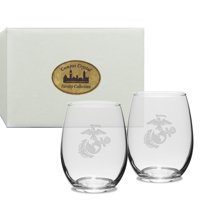 US Marines Deep Etched Stemless Wine Glass Set of 2