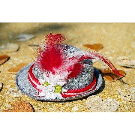 Canvas Print Costume Romance Bavarian Trachtenhut Hat Stretched Canvas 10 x - Bavarian Hat