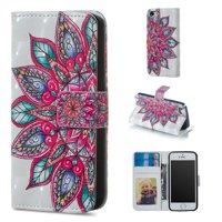 iPhone 5 5S Case Wallet, iPhone SE Case, Allytech 3D Emboss Leather Flip Protective Case Cover & Credit Card Slots Pocket, Support Kickstand Slim Case for Apple iPhone 5 5S SE (Big Flower)