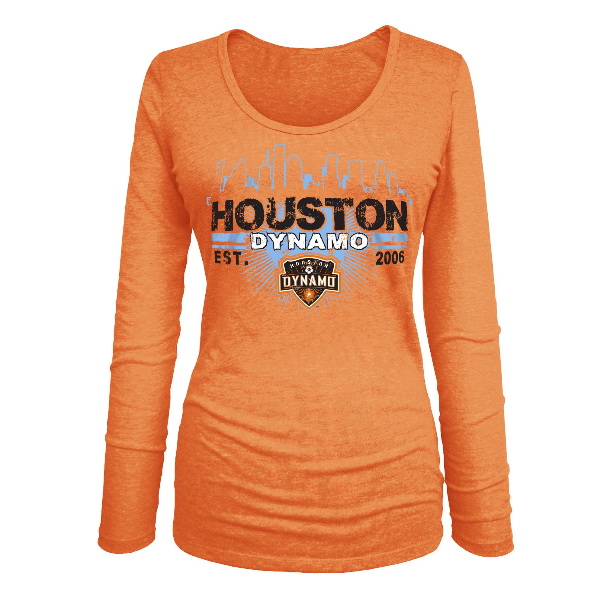 Houston Dynamo 5th & Ocean by New Era Women's Tri-Blend U-Neck Long Sleeve T-Shirt - Orange