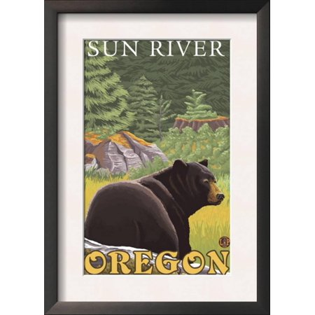 Black Bear in Forest, Sun River, Oregon Framed Art Print Wall Art ...