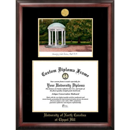 - University of North Carolina, Chapel Hill 11.5 x 14 Gold Embossed Diploma Frame with Campus Images Lithograph