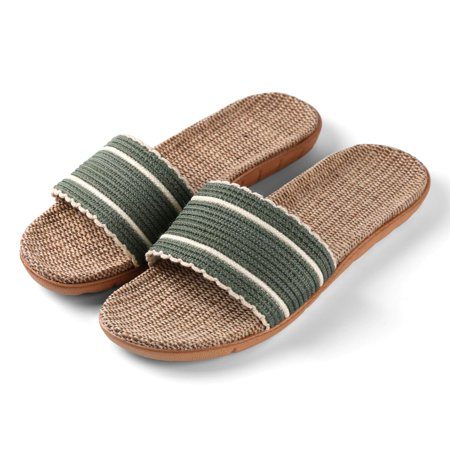 AERUSI Women's Loki Slide Classic Style Slip On Straw Sandals