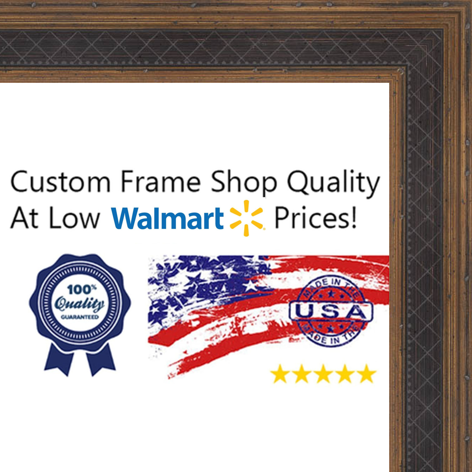 26x36 - 26 x 36 Antique Gold and Navy Solid Wood Frame with UV Framer's Acrylic & Foam Board Backing - Great For a