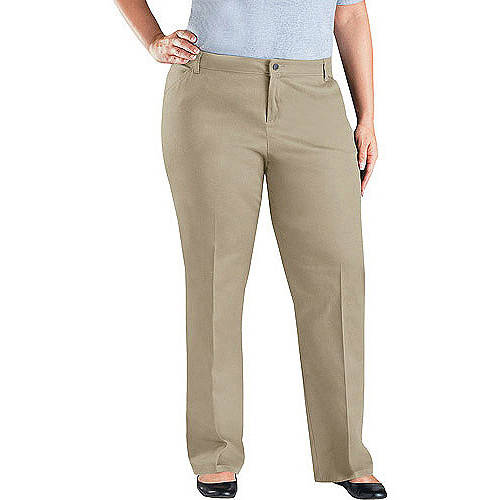 Dickies Women's Plus Size Mid rise Relaxed Fit Straight Leg Twill Pants