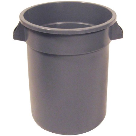 (Huskee Round Refuse Trash Receptacle Without Lid, 10 gal, 15-3/4 in Dia, Gray)