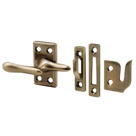 1-7/8 in. Diecast and Steel Antique Brass Plated Casement Window Sash Lock with Strikes for 3 Different Applications