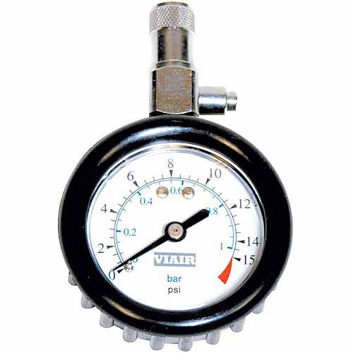 "VIAIR 2.0"" Tire Gauge with Boot, 0 to 15 PSI"