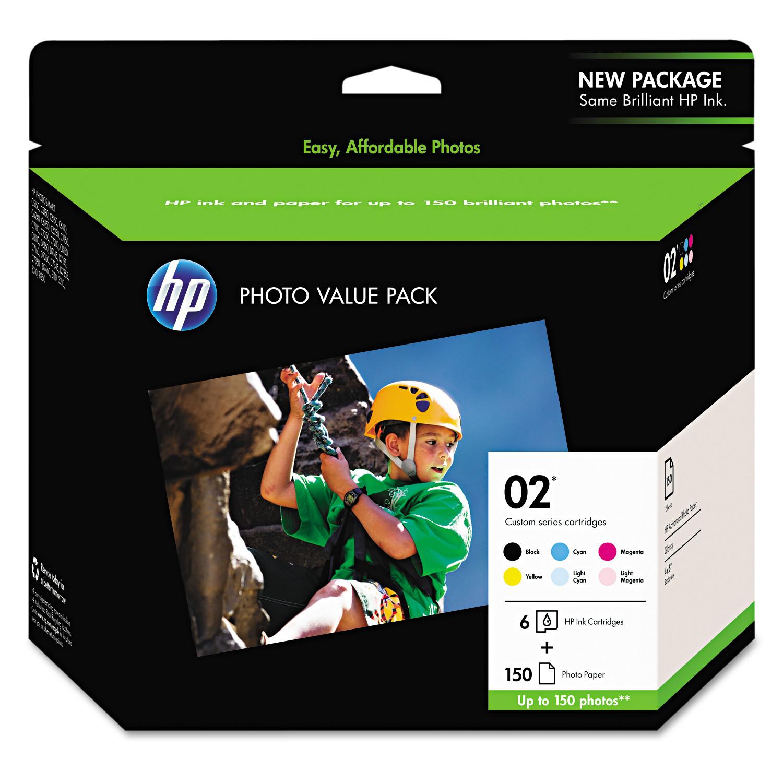 HP HP 02, (Q7964AN) 6-Pack Assorted Original Ink w/Photo Paper
