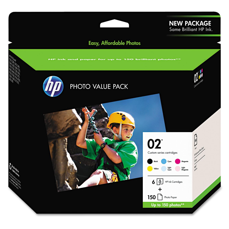 HP 02, (Q7964AN) 6-Pack Assorted Original Ink w/Photo Paper -HEWQ7964AN