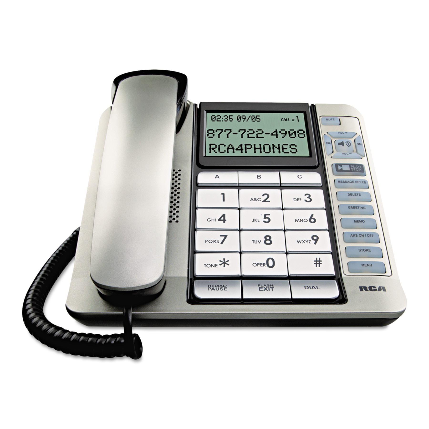 Rca 1114-1bsga Corded Desktop Phone With Caller Id & Digital Answering System