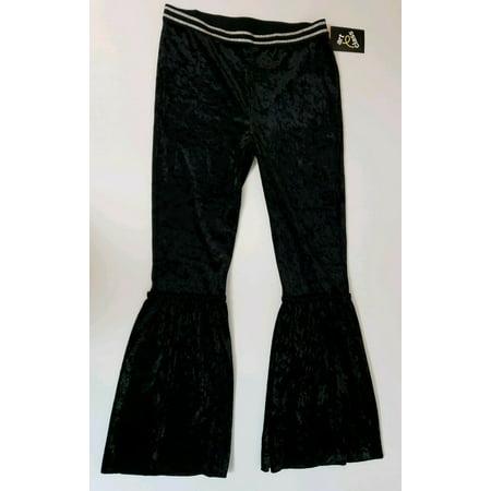 Art Class Girl's Pants Size 10/12 (L) Black Velvet Glitter Waist Flare