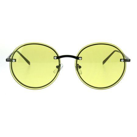 Lens Rimless Sunglasses Shades (Fem Womens Rimless Round Oval 90s Pastel Lens Sunglasses Yellow )