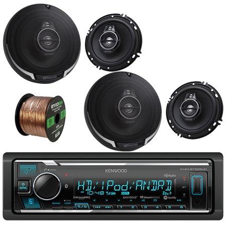 Kenwood In-Dash Stereo Receiver, Bluetooth, HD Radio, Pandora, iheart Radio Radio With Kenwood Performance Series 3-way 320W Car Speakers(2-Pairs) & Enrock 16-Gauge 50 Foot Speaker -