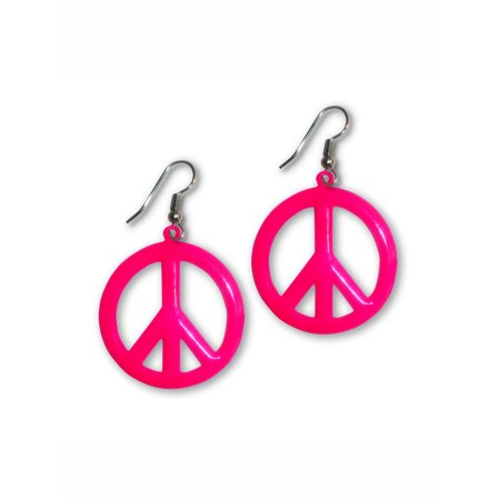 Large Neon Hot Pink Peace Sign Dangle Earrings by Real Metal Jewelry