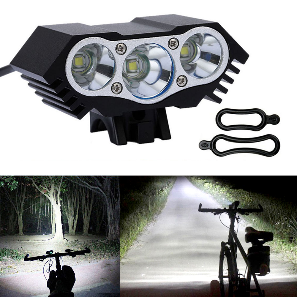T6 LED Bike Front Light Flashlight Bicycle Blue+Red Cycling Lamp Power Bank