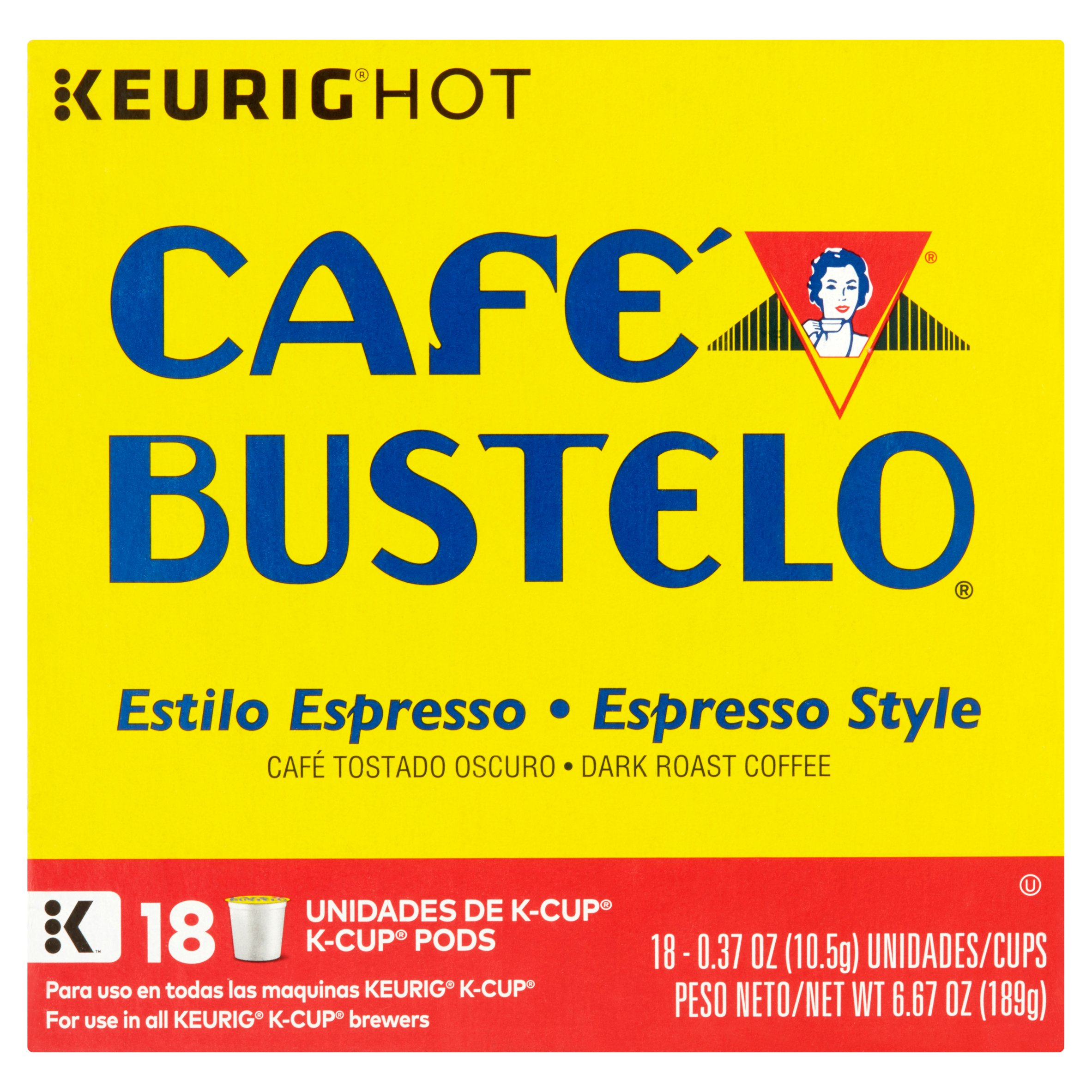 Cafe Bustelo Espresso Style K-Cup Pods, 18 Count