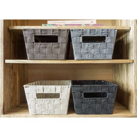 Handcrafted 4 Home Woven Strap Multi Color Baskets, Black, Brown, Grey, & Cream (Set of 4)