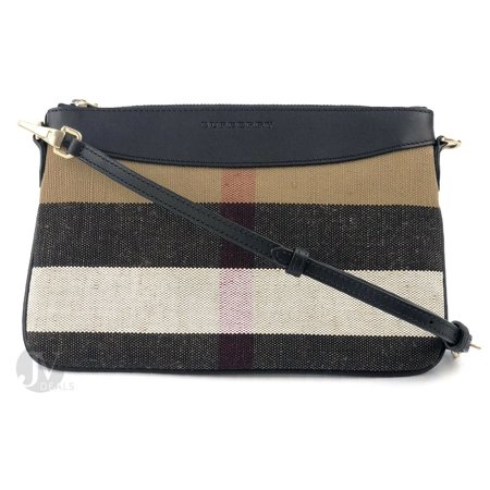 BRAND NEW WOMEN'S BURBERRY CANVAS HOUSE CHECK PEYTON CROSSBODY WRISTLET HAND BAG (Black)